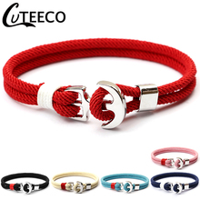 CUTEECO Handmade Anchor Bracelets For Women Charm Girl Weaving Rope Bracelet 2019 Hot Sale Couple Beach Jewelry