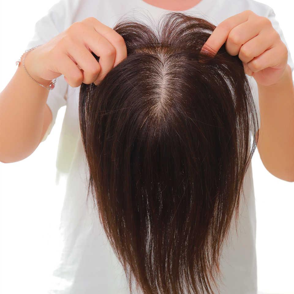 Peluca de adorno de pelo humano para mujer recta Base de seda intermedia con Clips en el pelo peluquín Remy horquilla