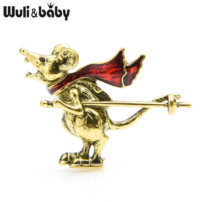 Wuli&baby Gold Silver Color Skating Mouse Rat Brooches Women Alloy Retro Animal Brooch Pins New Year Gifts
