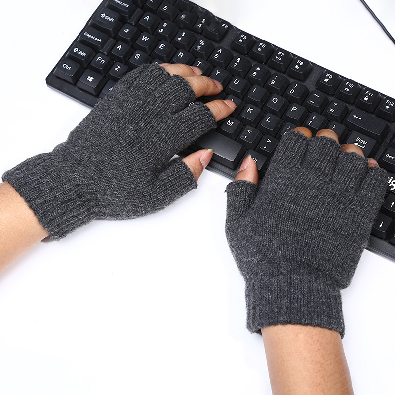 New Wool Winter Men Women Gloves Knitted Stretch Elastic Half Finger Gloves Office Sports Outdoor Mittens Warm Fingerless Gloves