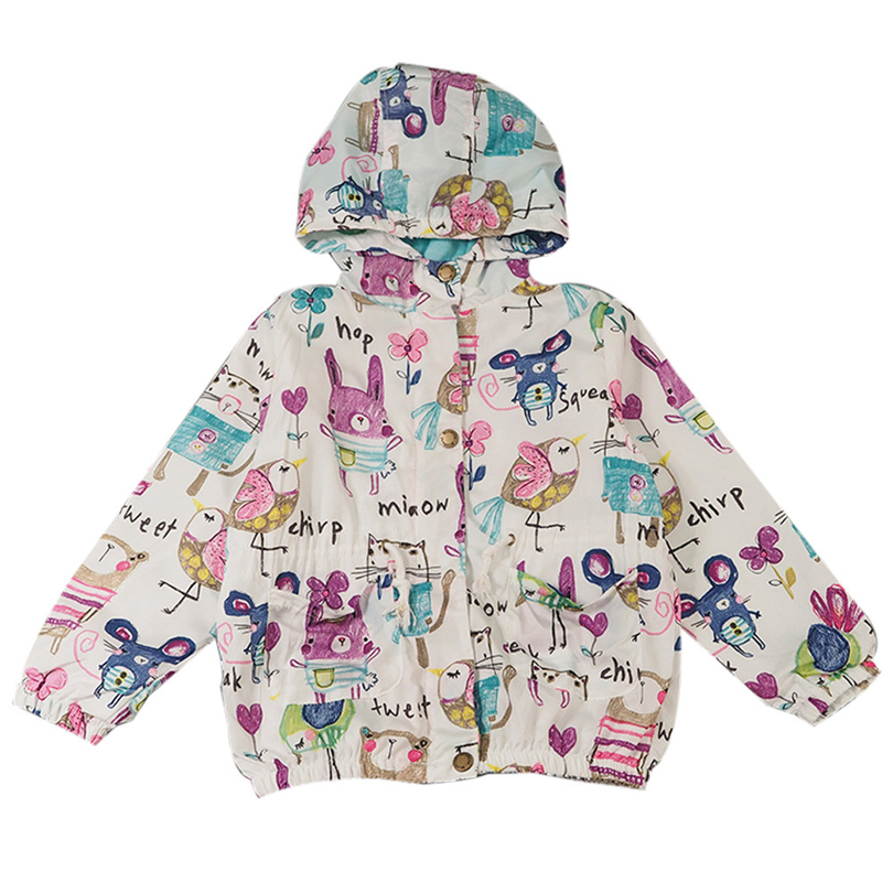 Children Baby Girls Hoodie   Trench   Coats Cartoon Graffiti Print Long Sleeve Windbreaker Outerwear Fashion Button Jackets 3-5T A20