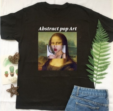 Ww Abstract Pop Art Monalisa Lollipop Painting Art Tees,Wanderlust Graphic T-Shirt Women Fashion Grunge Tumblr Top Goth Tshirt