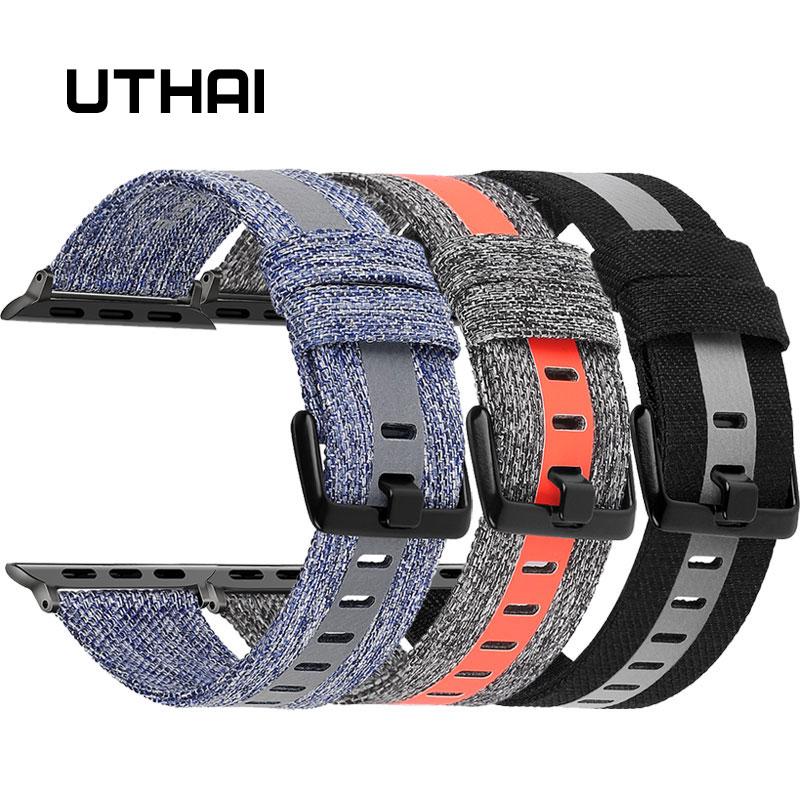 UTHAI Apple Canvas Watch Strap For IWatch 3/2/1 38mm 42mm For IWatch 4/5 40mm 44mm Watch Accessories For Apple Watch Watchband