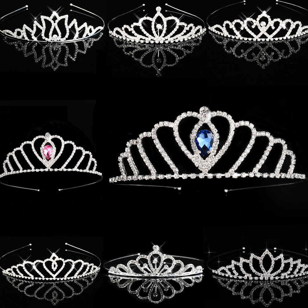 Blue Princess Tiaras Crowns Headband Kids Girls Show Bridal Prom Bride Bridesmaid Gift Wedding Party Accessiories Hair Jewelry