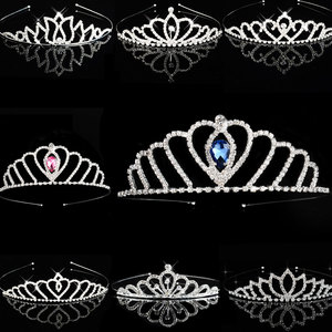 Blue Princess Tiaras Crowns Headband Kids Girls Show Bridal Prom Bride Bridesmaid Gift Wedding Party Accessiories Hair Jewelry(China)