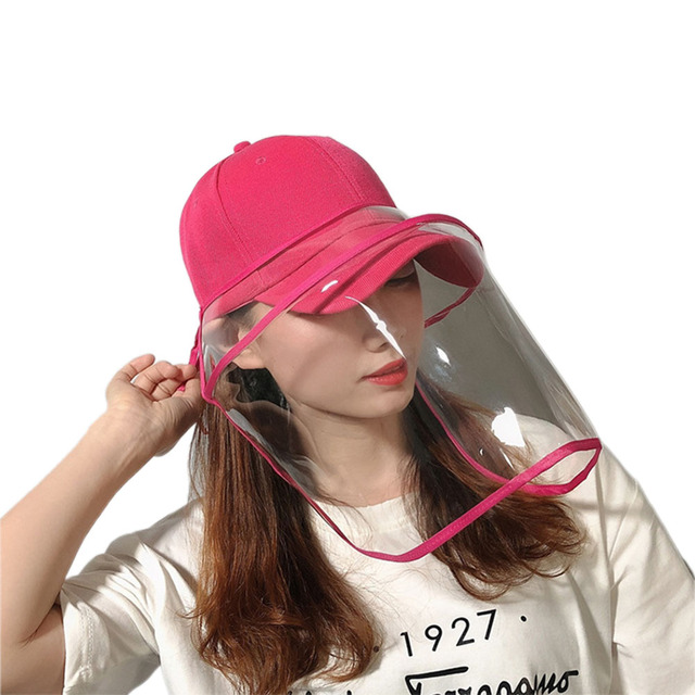 2020 Newest Collapsible Removable Protective Anti-saliva Dust-proof Hat Safety Full Face Shield Protection Caps with Clear Mask 3