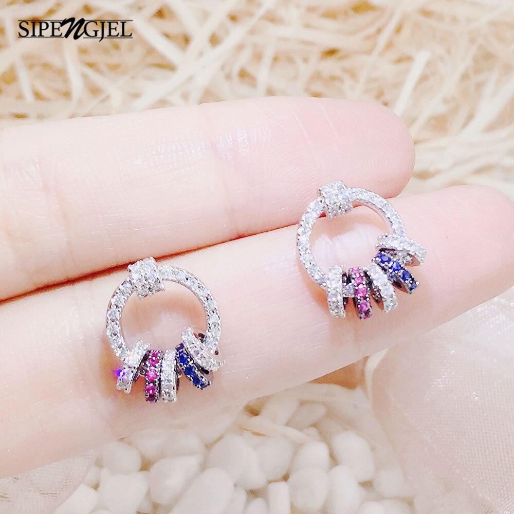 Модные круглые серьги-гвоздики с кубическим цирконием красочные геометрические маленькие круглые серьги для женщин ювелирные изделия 2021