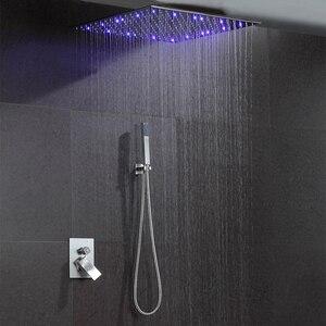 Ванная Комната Дождь душ система 16/20 дюймов потолочный светодиодный душ панель матовый настенный горячий и холодный коня светодиодный mixe с...