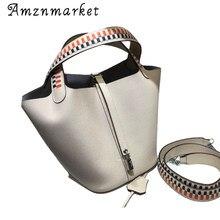 Summer Tote Handbags Women's Cowhide Leather Color Matching Weave Lock Top Handle Bag Female Fashion Shoulder Bucket Bags Purses