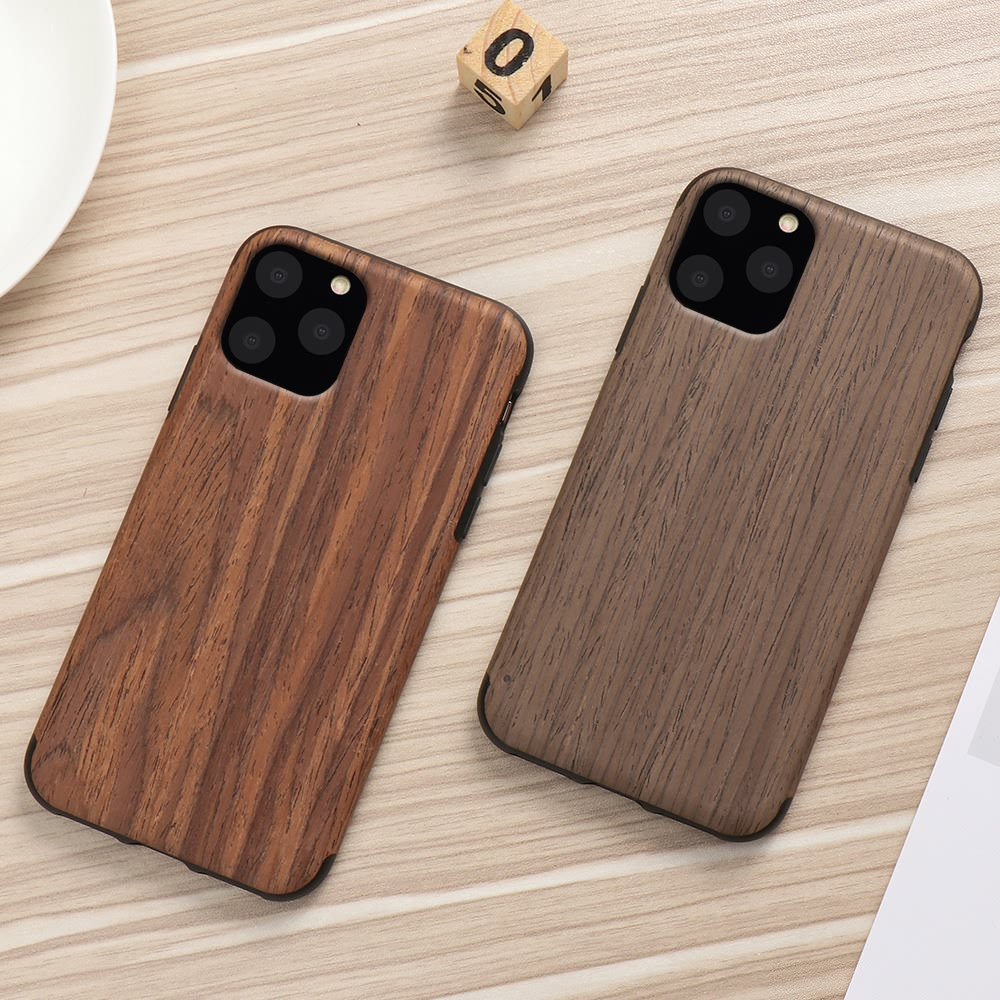 Slim Wood Grain Silicon Glitter Bumper Cover Wooden Case for iPhone 12 Pro