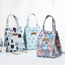 Breakfast-Box Lunch-Bags Pattern Waterproof Fashion Cartoon Square Shaped Hand-Held Multicolor