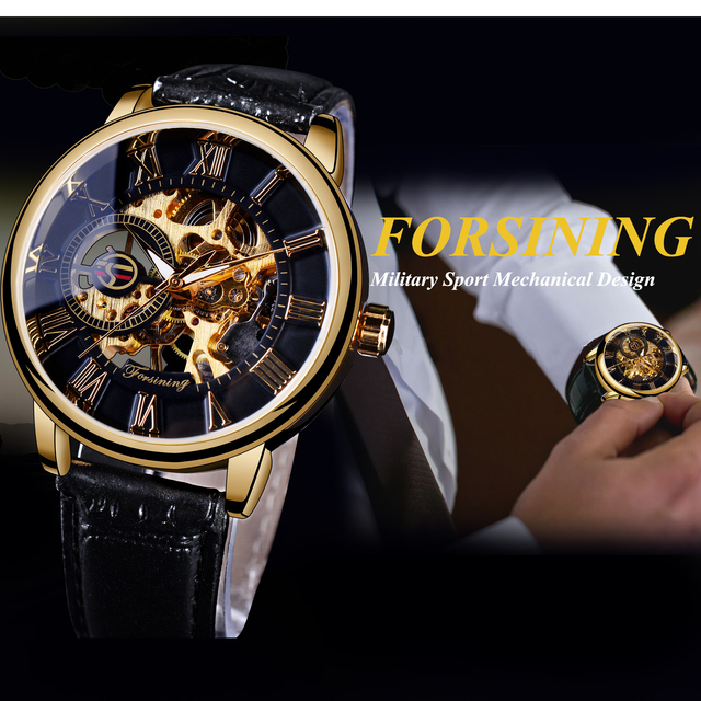 Forsining 3d Logo Design Hollow Engraving Black Gold Case Leather Skeleton Mechanical Watches Men Luxury Brand Heren Horloge 2