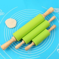 3 Sizes Non Stick Wooden Handle Silicone Rolling Pin Pastry Dough Flour Roller Kitchen Baking Cooking Tool Household Rolling Pin|Rolling Pins & Pastry Boards|Home & Garden -