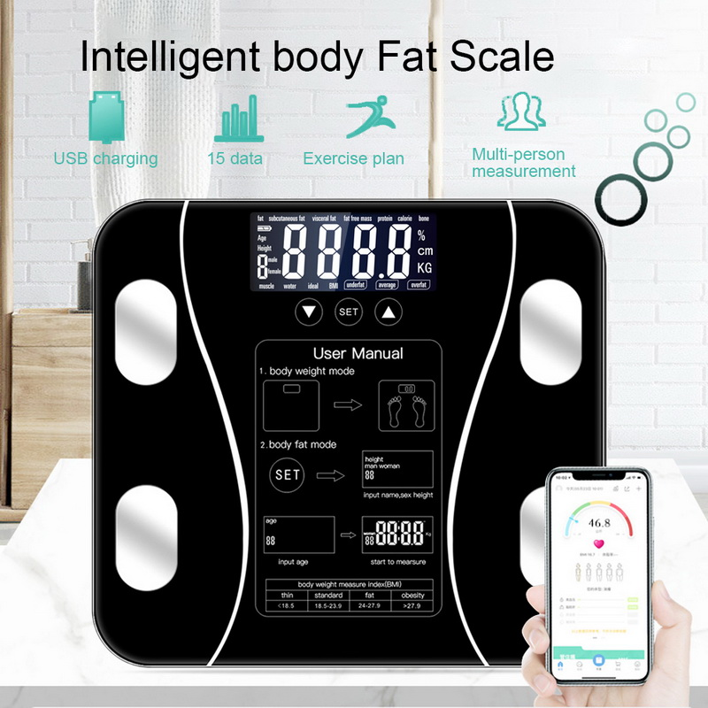 Smart Body Fat Scale Floor Scientific Smart Electronic LED Digital Weight Measuring Balance Bluetooth APP Android Or IOS Bathroom Scales     - title=