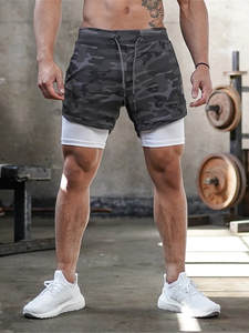 Fitness Shorts Pants Outdoor Running Casual Summer Brand Pockets Loose Male Men's 2-In-1