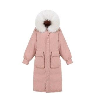 QIMAGE New Winter Parkas Women Big Fur X-Long Parkas Hood Female Thick Warm Winter Coat Jacket Solid Color Plus Size Parkas фото