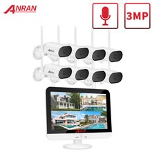 Anran 3mp pan & tilt kit de câmera de vigilância de segurança câmera de vigilância de 13 polegadas sem fio monitor nvr sistema de áudio wi-fi cctv kit de câmera