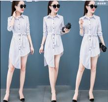 2020 spring long-sleeved shirt with retro harbor style jacket irregular long bottoming shirt dress blouse