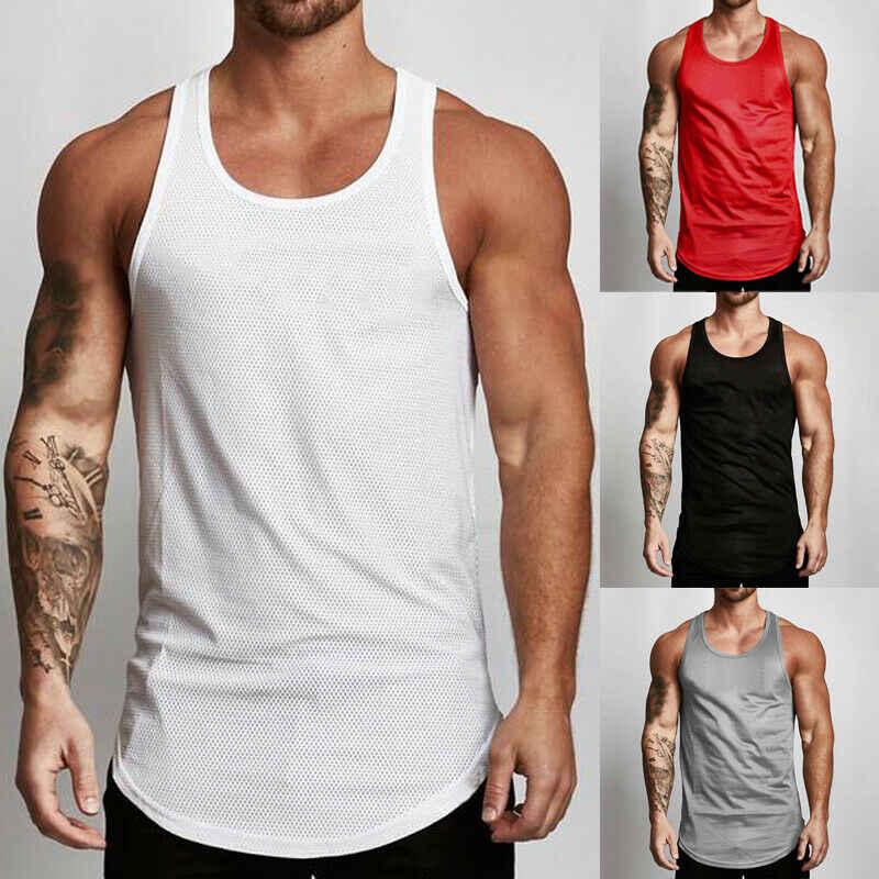 Fashion Mens Fitness Activewear Tops Casual T-shirt Bodybuilding Spier Tee Vest