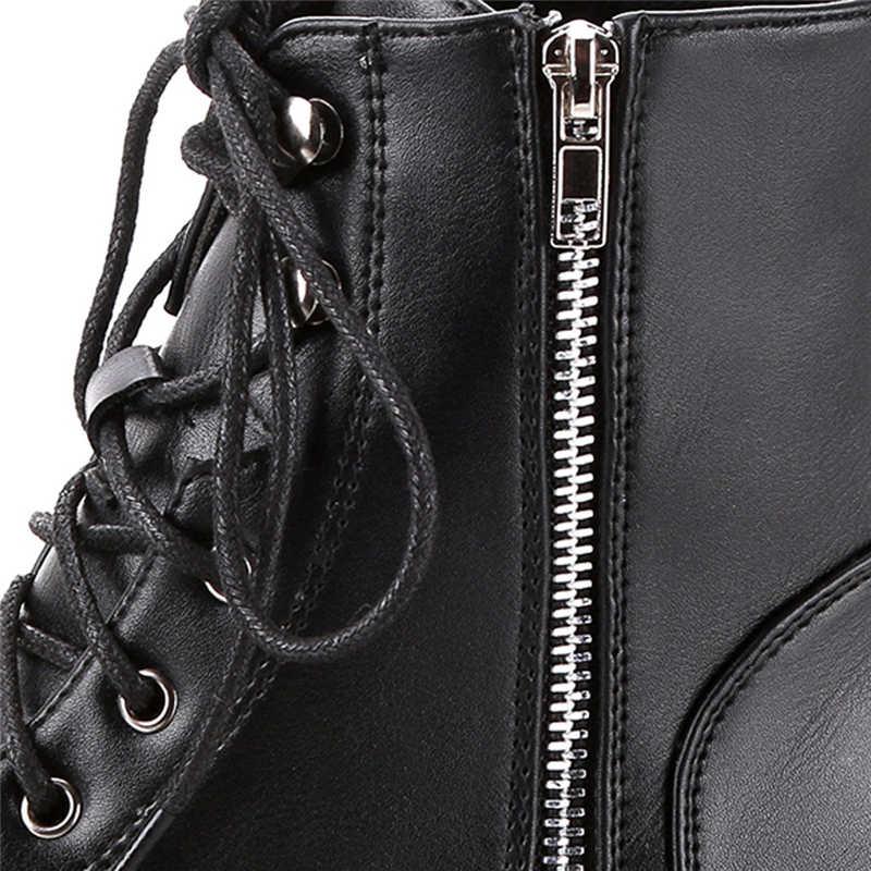 Sonbahar Çizmeler Kadın 2019 Vintage Deri Ayak Bileği Kısa Rahat Botas Olmayan SlipWestern Botları Kovboy Çizmeleri Motosiklet Dökün Kadınlar 7*45
