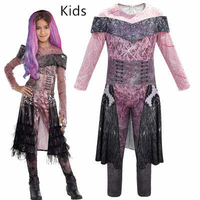 Halloween 2019 Kids Descendants 3 Mal Bertha Maleficent Cosplay Costume  Girls Halloween Party Performance Clothing 3D Dress