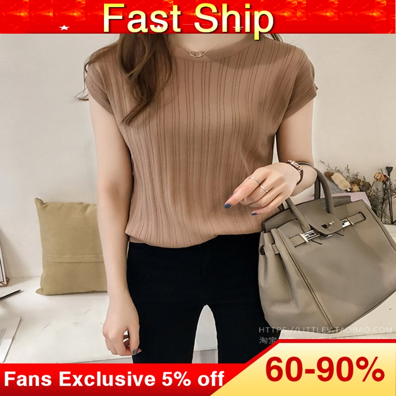 2019 Summer Ice Silk Knitted Tops Short Sleeve Solid Slim Bright Office Lady Work Causal Silk Shirts Fashion Slim Knitwear