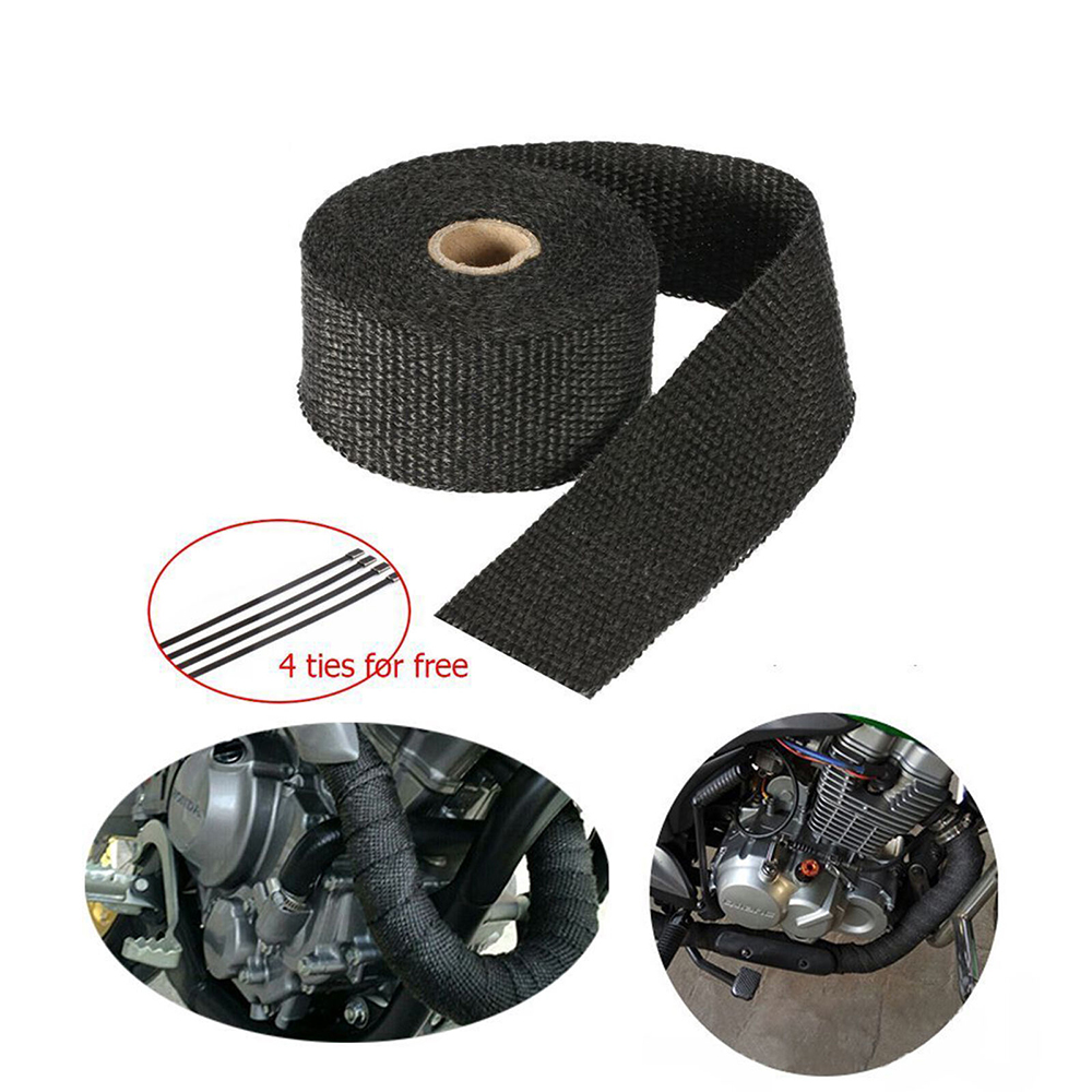 black Exhaust Wrap Black 1 x 16 Roll for Motorcycle Fiberglass ...