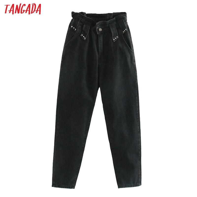 Женские черные джинсы Tangada, брюки с высокой талией и заклепками, длинные брюки с карманами на молнии, 4M146, 2020 Джинсы      АлиЭкспресс