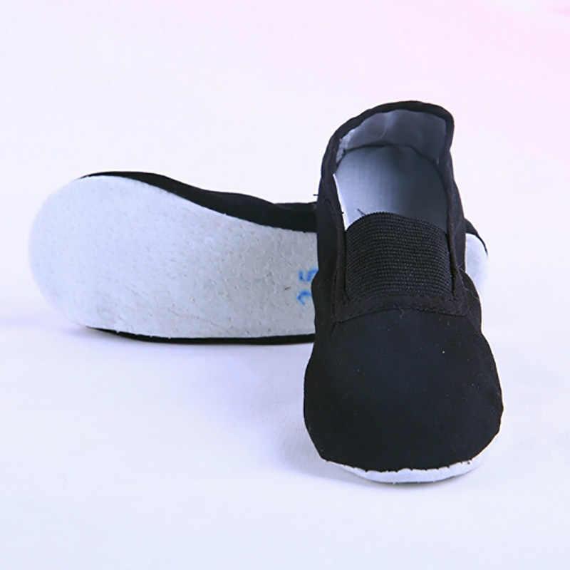USHINE EU22-45 Tüm Deri Taban Siyah Beyaz Düz Yoga Öğretmen Spor Jimnastik Bale Dans ayakkabıları Çocuk Kadın Adam büyük boy