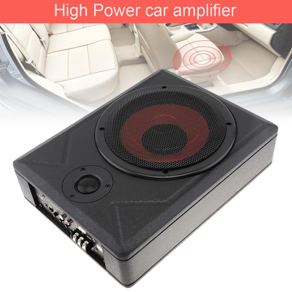 Fuselage noir universel mince 8 pouces 600W mince sous siège voiture Subwoofer actif haut-parleur amplificateur de basse