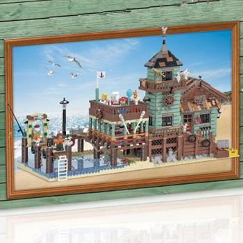 Lepining City Creator Street View Old Fishing Store Fish House Pier Fisherman's wharf Building Block Bricks toy for Kids 21310 1
