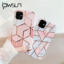 iPWSOO IMD Geometric Marble Texture Phone Cases For