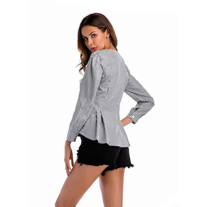 新ファッション女性ソリッドブラウスシャツ女性ヴォーグ高ストリート十字 V ネック長袖トップス秋 2019