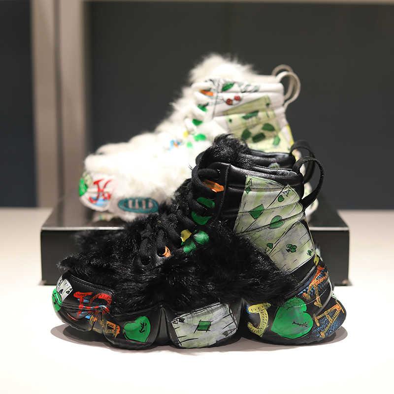 Kar yarım çizmeler kadınlar kış platform ayakkabılar kadın Graffiti Botas Mujer rahat Botas Feminina lüks yüksek top Chaussures Femme