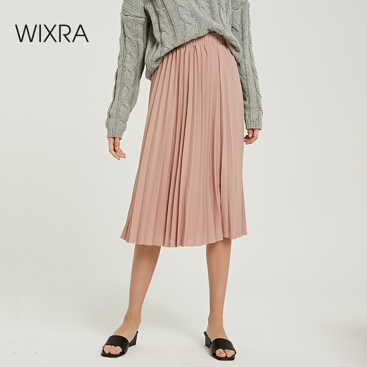 Wixra 2019 New Solid Pleated Skirts High Waist A Line Mid-Calf Skirt Summer Autumn Ladies Bottom