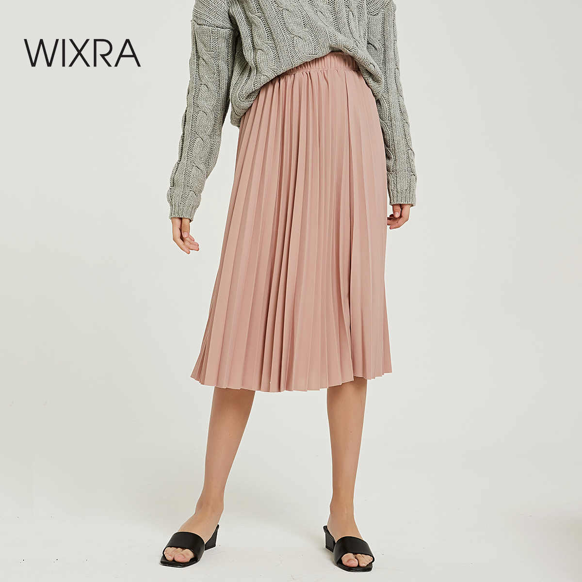 Wixra 2019 Nuovo Solido Gonne A Pieghe A Vita Alta Una Linea Mid-Calf Pannello Esterno di Autunno di Estate Delle Signore di Fondo