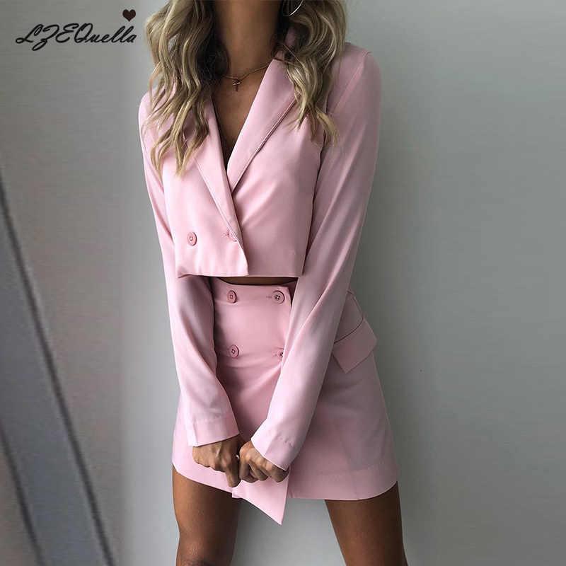 LZEQuella donne di autunno dei vestiti del cappotto outwear di alta vita costume set giacca gonna del vestito ufficio delle signore più il formato a due pezzi