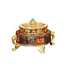 Chinese Incense Burner Holder Classical Metal Tibetan Style Painted Zinc Alloy Coil Crafts For Home Office Decoration