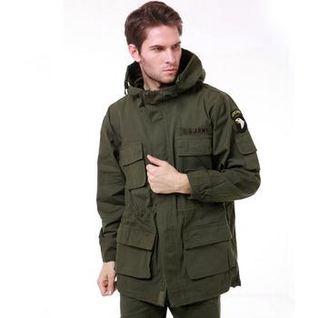Military Uniform Men #8217 s M65 Trench Coat Male Solid Camouflage Wadded 101st Airborne Force Fleece Jacket Coat Men Clothing tanie i dobre opinie WOLF ENEMY Wiosna AUTUMN WindStopper Pasuje prawda na wymiar weź swój normalny rozmiar Wykop 100 cotton