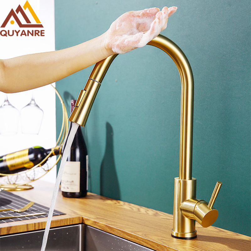 Champagne Bronze Gold Sensor Kitchen Faucets Sensitive Smart Touch Control Faucet Mixer Tap Touch Sensor Smart Kitchen Taps