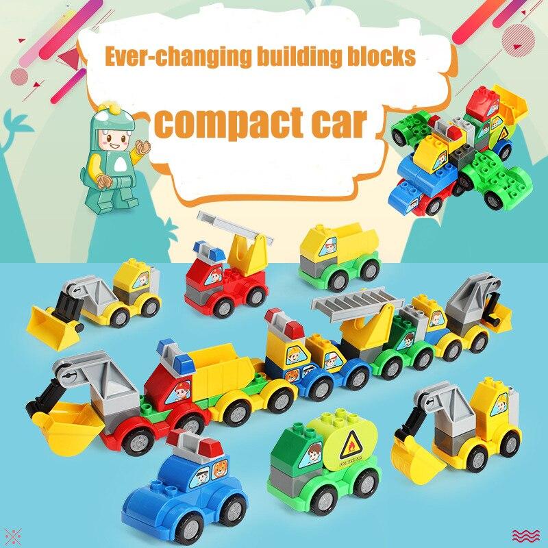 Legoly Duploed Building Blocks City Series Vehicle Combination DIY Bricks Toys For Children Playmobil Toys Children Gift