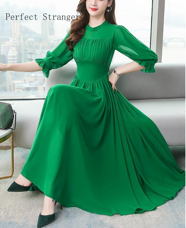 2020 Spring New Arrival Elegant Round Collar Half Sleeve Solid Color Woman Chiffon Long Dress Plus Size S-4XL