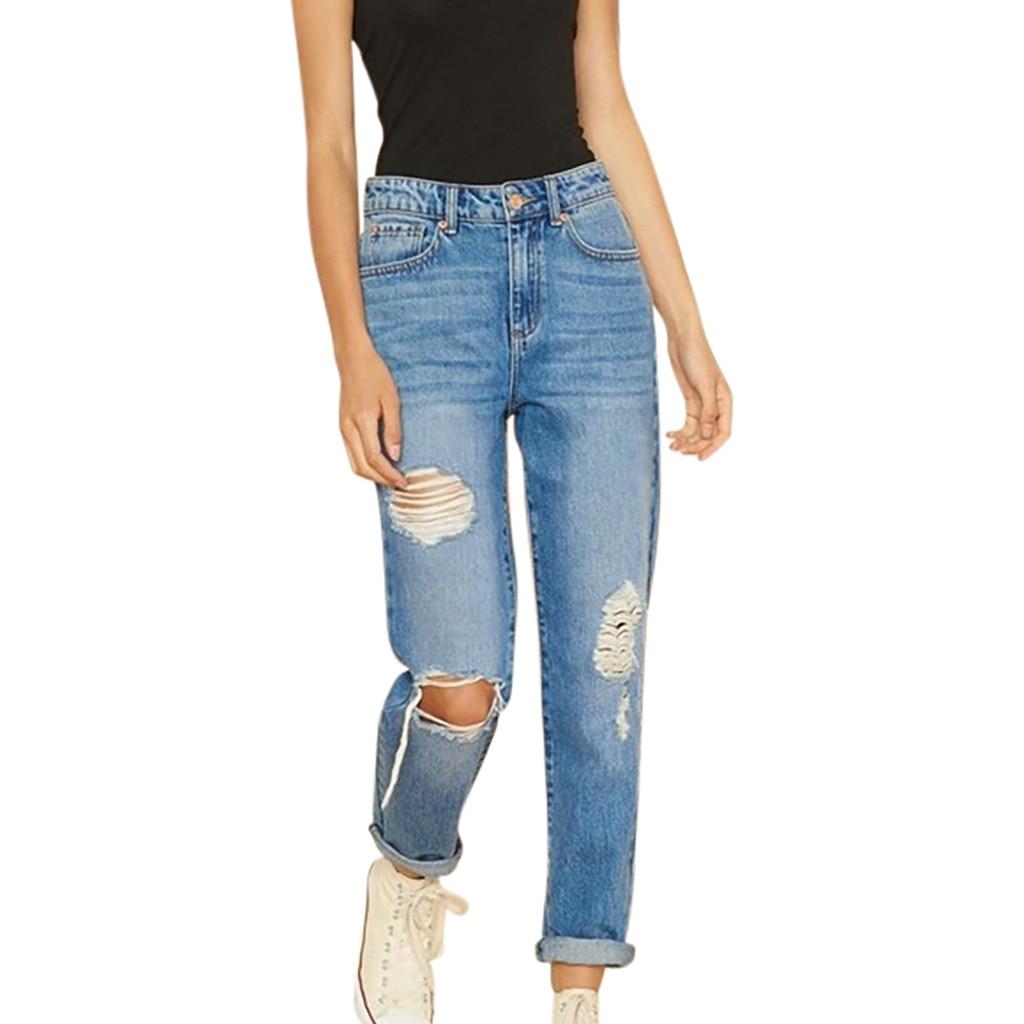 Vintage Ladies Sexy Jeans For Women Mom Waist Hole Pocket Zip Button Button Slim Jeans Fashion Casual Korean Street Jeans #B