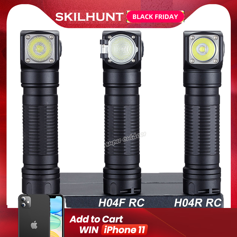 Skilhunt H04 H04R H04F RC 1200 Lumen Two Customized UI USB Magnetic Rechargeable LED Flashlight Hunting Camping + Headband