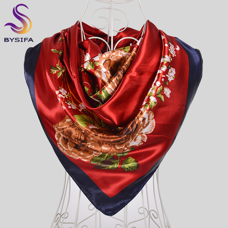 [BYSIFA] Chinese Style Peony Silk Scarf Shawl Women Army Green Large Square Scarves Wraps Muslim Ladies Head Neck Scarf Hijab