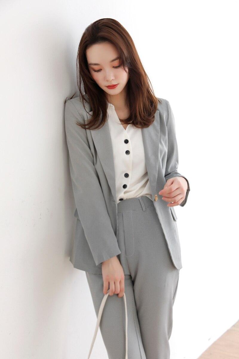 Chic Houndstooth Pant blazer Suits Ladies New Autumn Single Button Blazer & Suit Pants Female 2 Pieces Blazer Set vs436