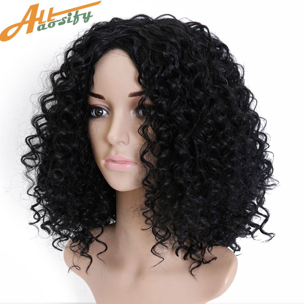 Allaosify Short Afro Kinky Curly Wigs For Women Synthetic Wigs Heat Resistant Hair Fluffy African American Natural Black Hair