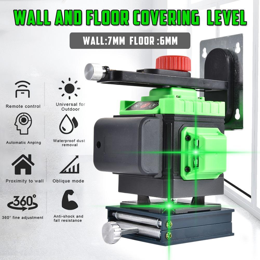 Aletler'ten Lazer Seviyeleri'de 3D yeşil işın kendinden tesviye lazer seviyesi 12 satır çapraz çizgi üç düzlemli tesviye ve hizalama lazer seviyesi aracı title=