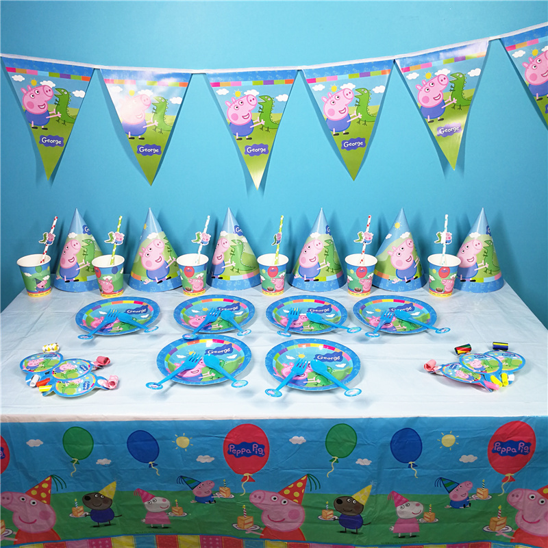 Peppa Pig Birthday Party Anime Figure Party Decoration Supplies Mask Cup Activity Event Kids Toys For Children Birthday 2P29