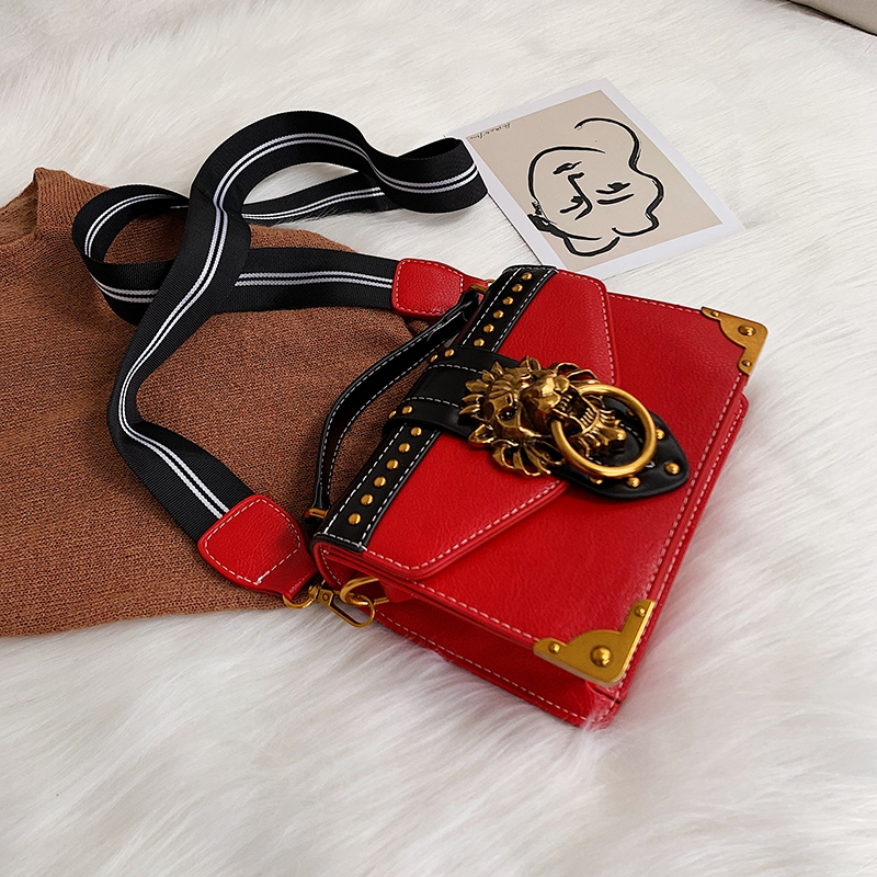 H5a60800a09e745bfaf470d8e5851a080A - Female Fashion Handbags Popular Girls Crossbody Bags Totes Woman Metal Lion Head  Shoulder Purse Mini Square Messenger Bag
